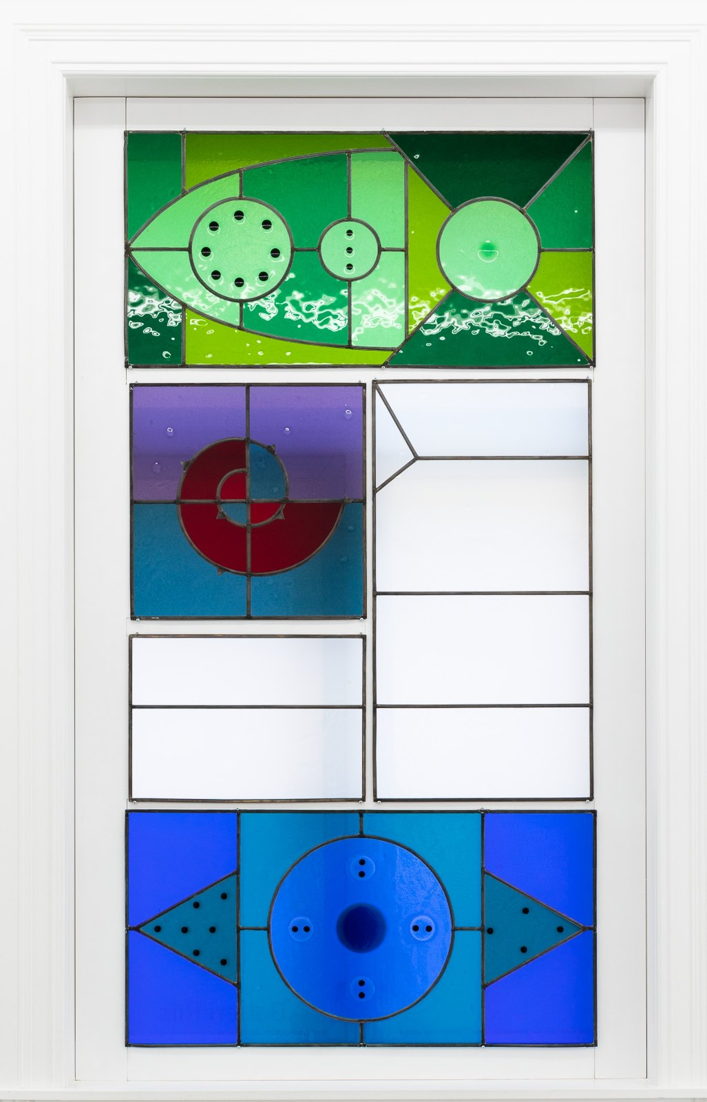 Colored Light in Far-Red Eyes (in sixteen parts), 2015-2018, Stained glass windows in four frames. Detail