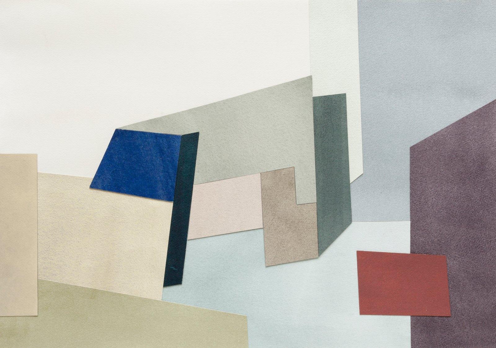 Åpne steder og mørke flater III , 2017. Collage, watercolor, 49,5 x 66,5 cm