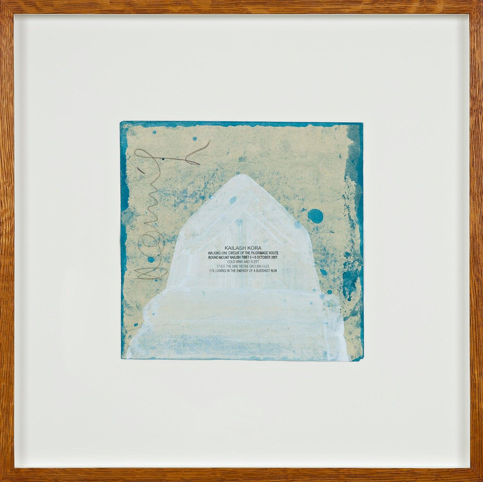 Kailash Kora, 2007, ink walk text on acrylic in artist frame, 21.5 x 21.5 cm