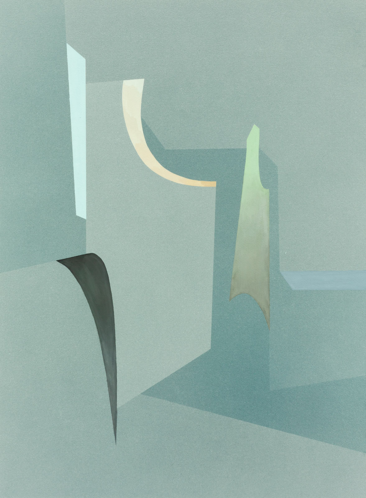 Lightcurves lI, 2019. Watercolour and casein on paper, 93 x 68,5 cm