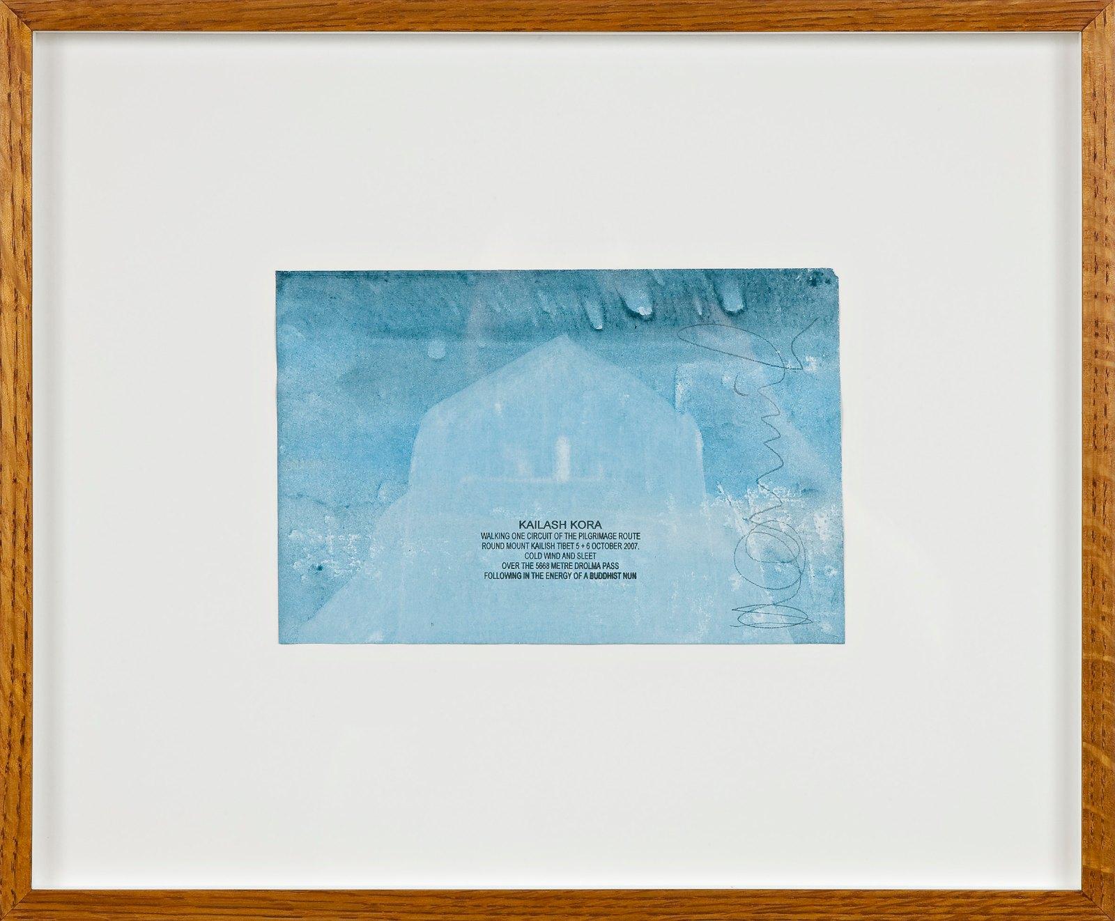 Kailash Kora, 2007, ink walk text on acrylic in artist frame, 15 x 22.5 cm