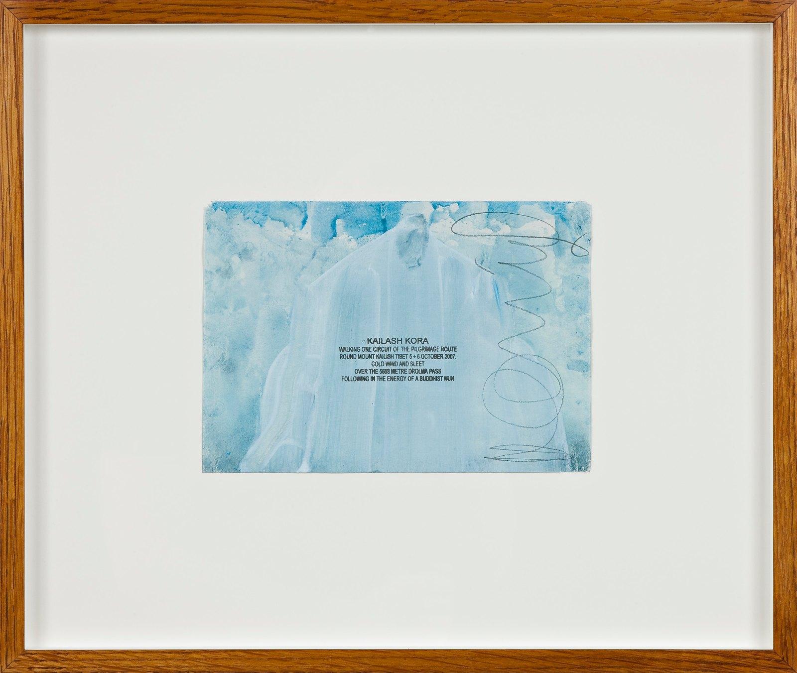 Kailash Kora, 2007, ink walk text on acrylic in artist frame, 14.5 x 20.5 cm