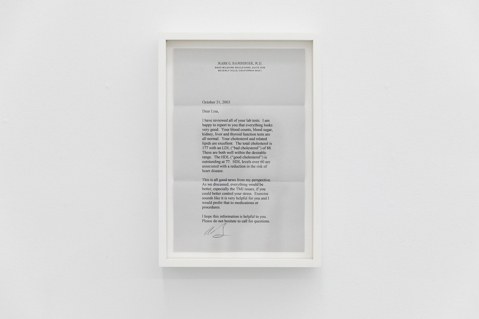 Letters From Dr. Bamberger, 2002-2010. 9 Annual post-physical letters in artist's frame. Variable installation, 24,5 x 17 x 3,8 cm each. Unique