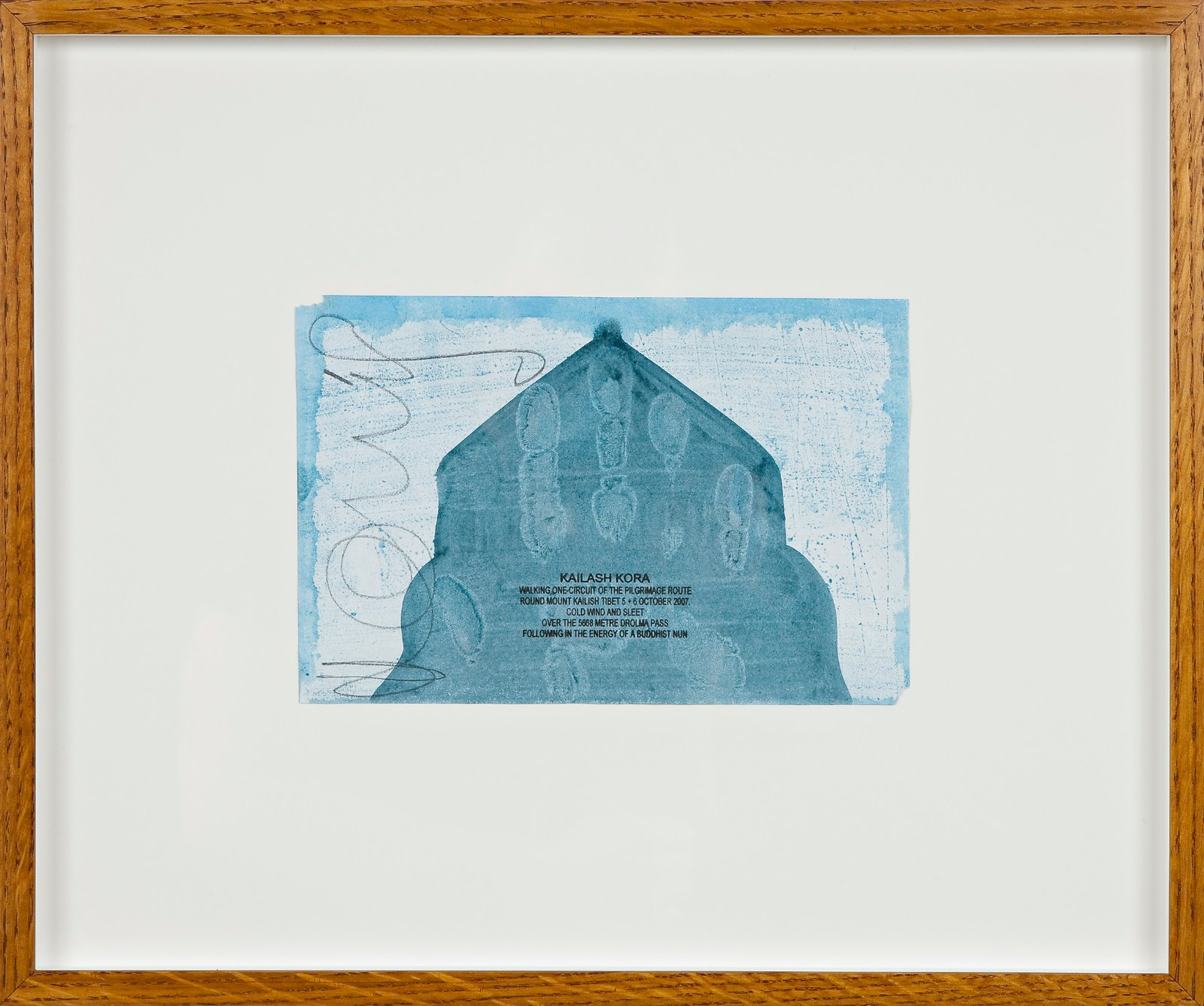 Kailash Kora, 2007, ink walk text on acrylic in artist frame, 14.5 x 22 cm